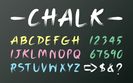 White chalk font design on black board, yellow uppercase alphabet handwriting, pink letter hand draw, blue typography English text, green number arrow writing on chalkboard.