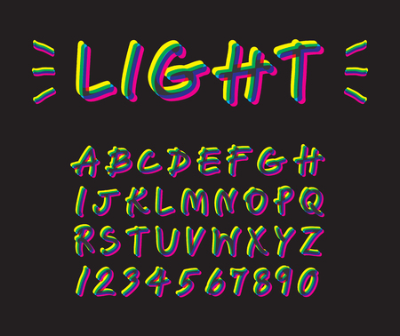 Colorful neon lighting font design on black, yellow flash uppercase alphabet handwriting, shiny magenta letter hand draw, cyan glow beam typography English text and number. Ilustração