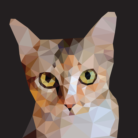Tabby brown cat head green eyes isolated on black background, red orange kitty low polygon, animal crystal design illustration, modern geometric graphic dark tone.