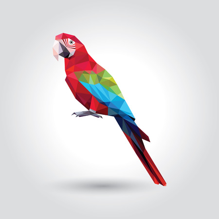 Red Macaw with green and blue wings low polygon isolated on white background, colorful parrot bird modern geometric icon, pet crystal design illustration.