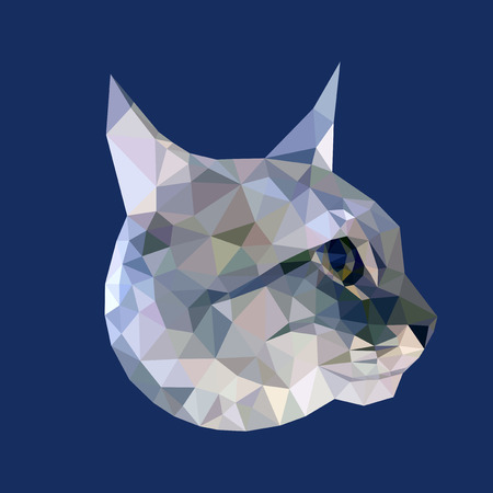 Head of gray cat with blue eyes low polygon isolated on blue background, geometric animal face, pet crystal illustration, modern triangular kitten icon.