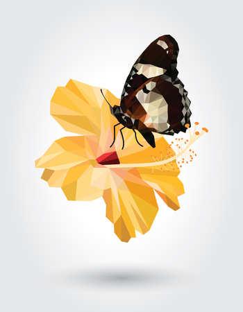 Low polygon butterfly white dot black stripe wings on yellow hibiscus flower isolated on white background, brown insects flying on fallow floral plant. Logo bug icon geometric saffron flora. Ilustração