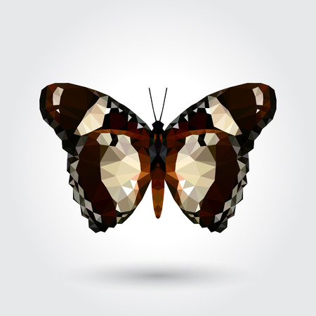 Low polygon butterfly white dot black stripe wings isolated on white background, fresh brown insects flying. Logo icon geometric. Bug polygonal crystal style.