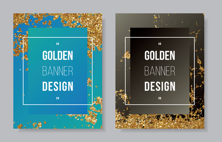 Gold glitter border on blue cyan background, golden star white text on gradient black banner, shinny frame invitation party CMYK offset template.