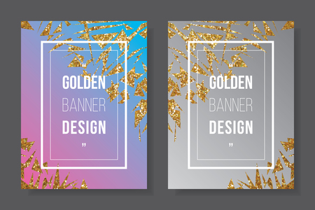 Gold glitter border on pink cyan background, golden star white text on gradient grey banner, shinny frame invitation party CMYK offset template. Ilustração