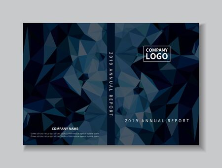 Annual report 2019 book design front and back cover template, black blue abstract low polygon background, company logo on layout A4 size two pages offset CMYK printing. Ilustração