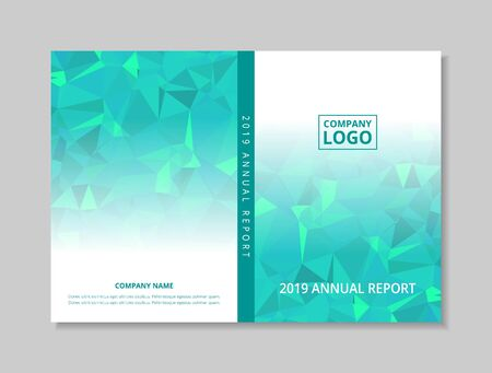 Annual report 2019 book design front and back cover template, blue green abstract low polygon on white background,