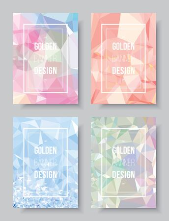 Pastel abstract book cover design template, white demo text layout on glitter CMYK printing brochure. Gradient shading rainbow low polygon style, colorful party invitation card.