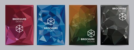 Cover template A4 size blue red black low polygon color theme background. Company report abstract book design