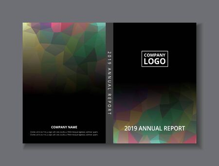 Annual report 2019 book design front and back cover template, black gray rainbow abstract low polygon background, Ilustração
