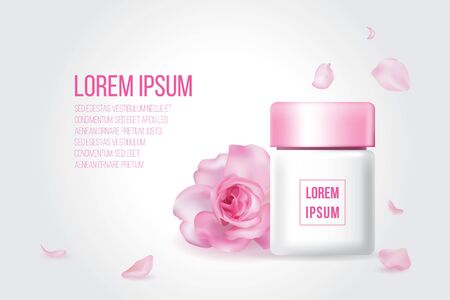 Lotion skin care white bottle yellow pink glossy lid with red rose petal flower on gray background, cosmetic advertise poster template. Flora leaf cream product packaging banner with sample text. Ilustração
