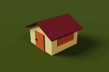 Yellow house red roof home isolated on green background, basic 3D rendering sample architecture illustration.