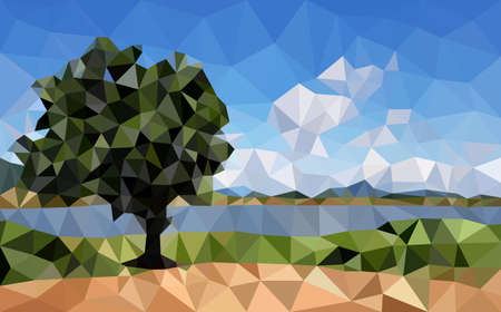 Deep blue lake horizon landscape view in sunshine low polygon background, panorama green tree park field river nature scenery with white clouds sky polygonal wallpaper. Ilustração