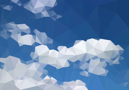 Blue sky above low polygon flat white cloud, troposphere daylight plain horizon line background, space air on Earth atmosphere vector polygonal wallpaper. Cloudy cyan canopy view 3D geometric scene. Иллюстрация