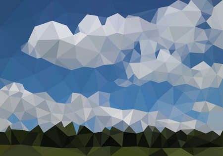 Green view forest low polygon background, jungle vector polygonal wallpaper, colorful geometric wood landscape, fresh plant perspective scene and blue sky cloudy.