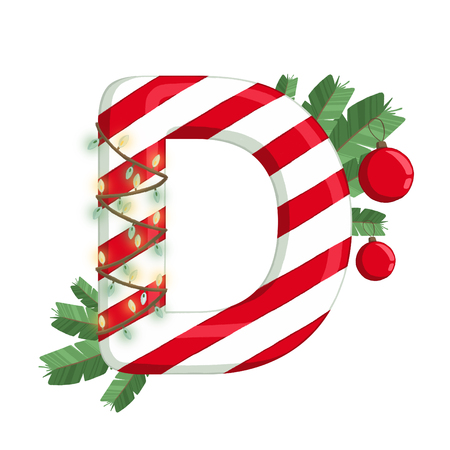Christmas alphabet. Illustration of letter D with tree, lights and decorations. use for postcards, wallpapers, textiles, scrapbooking, decoration, invitations, background, holiday.