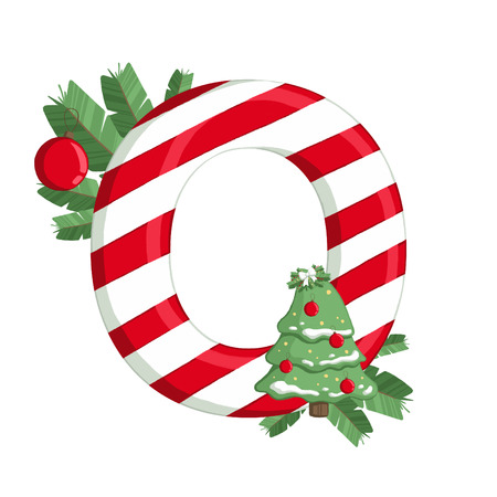 Christmas alphabet. Illustration of letter O with tree, lights and decorations. use for postcards, wallpapers, textiles, scrapbooking, decoration, invitations, background, holiday.