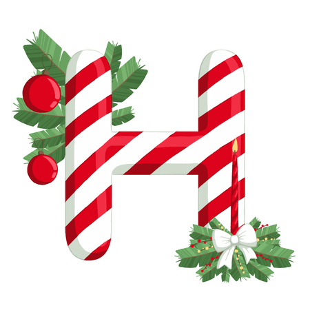 Christmas alphabet. Illustration of letter H with tree, candle and decorations. use for postcards, wallpapers, textiles, scrapbooking, decoration, invitations, background, holiday.