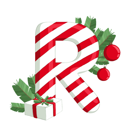 Christmas alphabet. Illustration of letter R with tree, gift and decorations. use for postcards, wallpapers, textiles, scrapbooking, decoration, invitations, background, holiday.