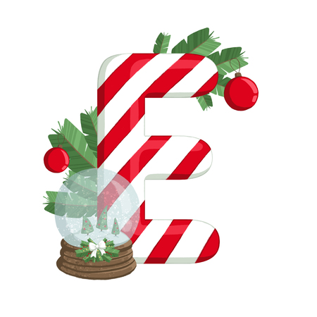 Christmas alphabet. Illustration of the letter E with tree, snowball and decorations. use for postcards, wallpapers, textiles, scrapbooking, decoration, invitations, background, holiday. Zdjęcie Seryjne