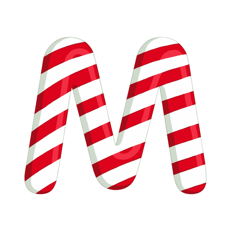Christmas alphabet. Illustration of candy letter M. use for postcards, wallpapers, textiles, scrapbooking, decoration, invitations, background, holiday. Archivio Fotografico
