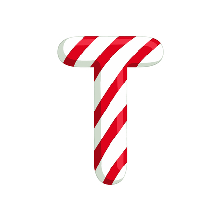 Christmas alphabet. Illustration of candy letter T. use for postcards, wallpapers, textiles, scrapbooking, decoration, invitations, background, holiday.
