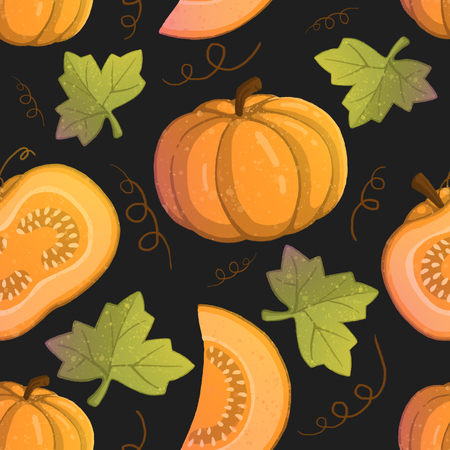 Pattern with illustration of orange pumpkins. use for postcards, wallpapers, textiles, scrapbooking, decoration, invitations, background, holiday. Standard-Bild - 108059111