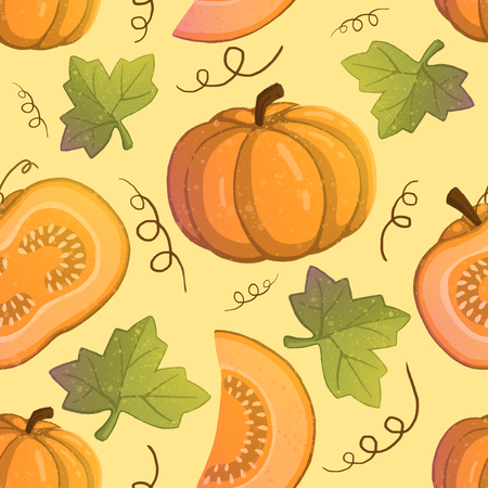 Pattern with illustration of orange pumpkins. use for postcards, wallpapers, textiles, scrapbooking, decoration, invitations, background, holiday. Standard-Bild - 108059113