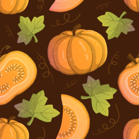 Pattern with illustration of orange pumpkins. use for postcards, wallpapers, textiles, scrapbooking, decoration, invitations, background, holiday. Standard-Bild - 108059114