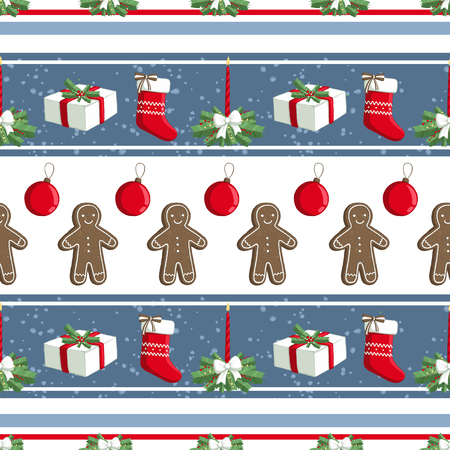 Christmas illustration pattern with decorations, sock, gifts, gingerbread man. use for postcards, wallpapers, textiles, scrapbooking, decoration, invitations, background, holiday. Standard-Bild - 108059135