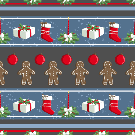 Christmas illustration pattern with decorations, sock, gifts, gingerbread man. use for postcards, wallpapers, textiles, scrapbooking, decoration, invitations, background, holiday. Standard-Bild - 108059136