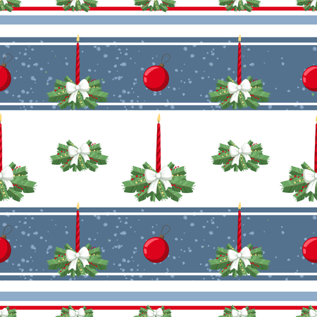 Christmas illustration pattern with decorations, candle, bow, tree. use for postcards, wallpapers, textiles, scrapbooking, decoration, invitations, background, holiday. Standard-Bild - 108059138