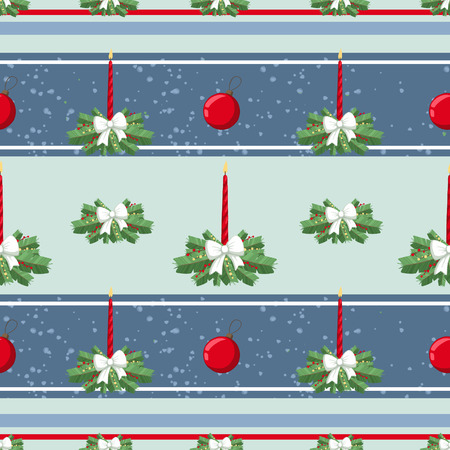 Christmas illustration pattern with decorations, candle, bow, tree. use for postcards, wallpapers, textiles, scrapbooking, decoration, invitations, background, holiday. Standard-Bild - 108059140