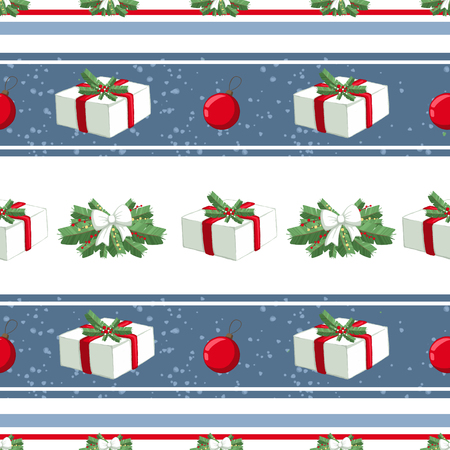 Christmas illustration pattern with decorations, gifts, boxes, tree. use for postcards, wallpapers, textiles, scrapbooking, decoration, invitations, background, holiday. Standard-Bild - 108059141