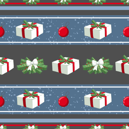 Christmas illustration pattern with decorations, gifts, boxes, tree. use for postcards, wallpapers, textiles, scrapbooking, decoration, invitations, background, holiday. Standard-Bild - 108059142