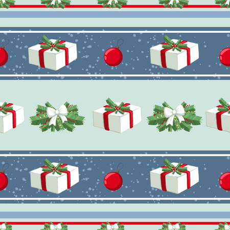 Christmas illustration pattern with decorations, gifts, boxes, tree. use for postcards, wallpapers, textiles, scrapbooking, decoration, invitations, background, holiday. Standard-Bild - 108059143