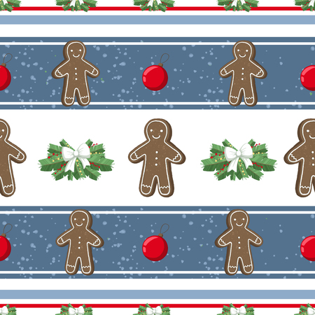 Christmas illustration pattern with decorations, gangerbread man, cookies, tree. use for postcards, wallpapers, textiles, scrapbooking, decoration, invitations, background, holiday. Standard-Bild - 108059144