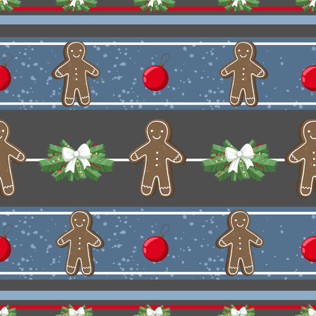 Christmas illustration pattern with decorations, gangerbread man, cookies, tree. use for postcards, wallpapers, textiles, scrapbooking, decoration, invitations, background, holiday. Standard-Bild - 108059145