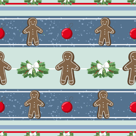 Christmas illustration pattern with decorations, gangerbread man, cookies, tree. use for postcards, wallpapers, textiles, scrapbooking, decoration, invitations, background, holiday. Standard-Bild - 108059146