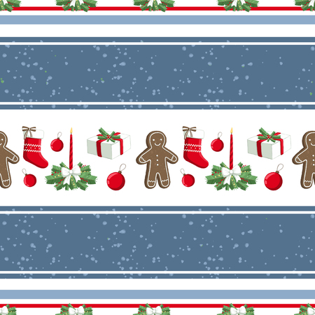 Christmas illustration pattern with decorations, sock, gifts, gingerbread man. use for postcards, wallpapers, textiles, scrapbooking, decoration, invitations, background, holiday. Standard-Bild - 108059147
