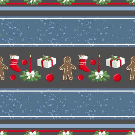 Christmas illustration pattern with decorations, sock, gifts, gingerbread man. use for postcards, wallpapers, textiles, scrapbooking, decoration, invitations, background, holiday. Standard-Bild - 108059148