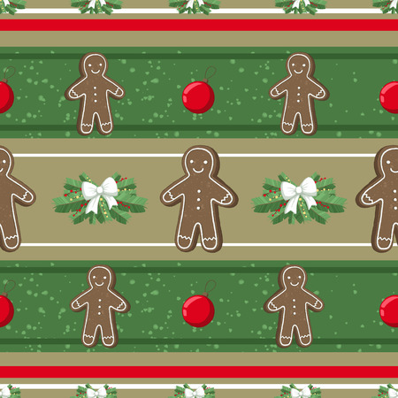 Christmas illustration pattern with decorations, gangerbread man, cookies, tree. use for postcards, wallpapers, textiles, scrapbooking, decoration, invitations, background, holiday. Standard-Bild - 108059169
