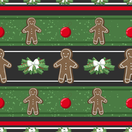 Christmas illustration pattern with decorations, gangerbread man, cookies, tree. use for postcards, wallpapers, textiles, scrapbooking, decoration, invitations, background, holiday. Standard-Bild - 108059172