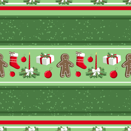 Christmas illustration pattern with decorations, sock, gifts, gingerbread man. use for postcards, wallpapers, textiles, scrapbooking, decoration, invitations, background, holiday. Standard-Bild - 108059176