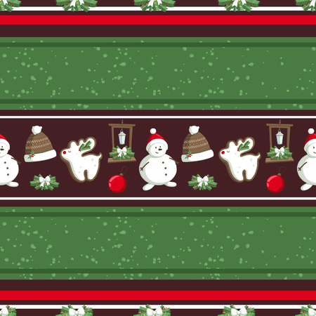 Christmas illustration pattern with decorations, hats, snowman. use for postcards, wallpapers, textiles, scrapbooking, decoration, invitations, background, holiday. Standard-Bild - 108059261