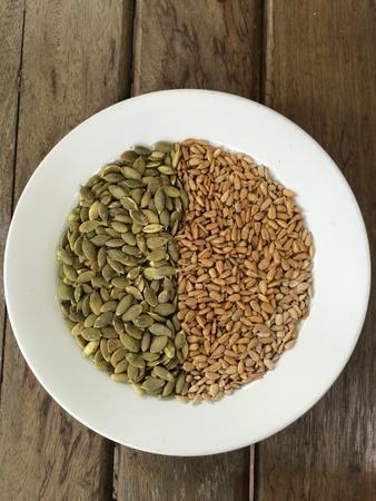 pumkin: Mixed sunflower seeds & pumpkin seeds Stock Photo
