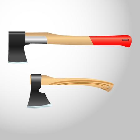 Realistic vector ax, hatchet with wooden handle.