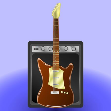 Realistic Illustration vector electric guitar and combo amplifier.