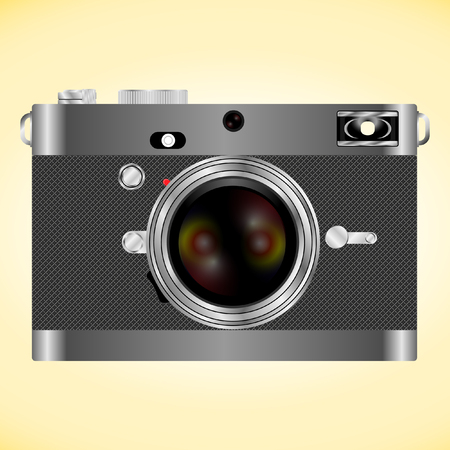 Realistic vintage style retro digital photo camera with yellow and red lens. Vector illustration isolated on yellow backgraund Ilustração