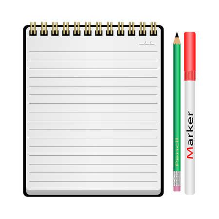 Vector Illustration notepad, pencil, marker on a white background Illustration
